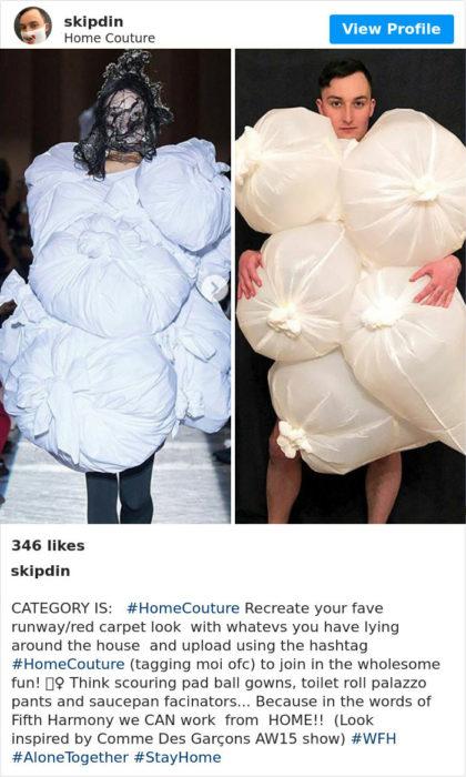 Hacen ropa de pasarela con objetos que tienen en casa