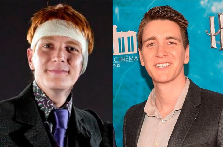 Foto comparativa del personaje George Weasley, con el actor que le dio vida Oliver Phelps