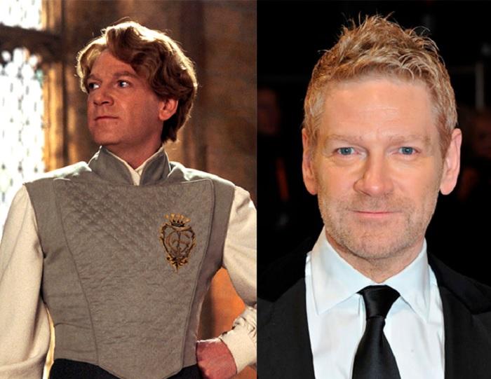 Foto comparativa del personaje Gilderoy Lockhart, con el actor que le dio vida Kenneth Branagh