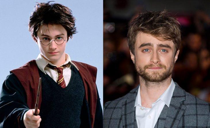 Foto comparativa del personaje Harry Potter, con el actor que le dio vida Daniel Radcliffe
