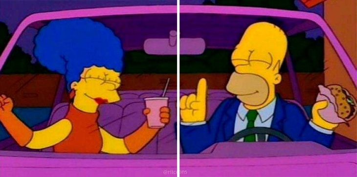 Fondo de pantalla en pareja de Homero y March