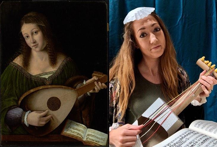 Chica imitando obra de arte en la que toca un banjo hecho por ella misma