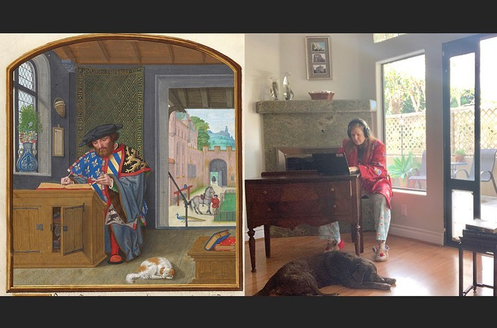 Mujer imitando pintura, pero de manera moderna