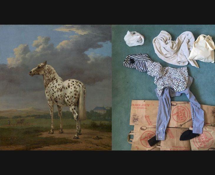 Imitación de una pintura de un caballo pero hecho con prendas y cosas de casa