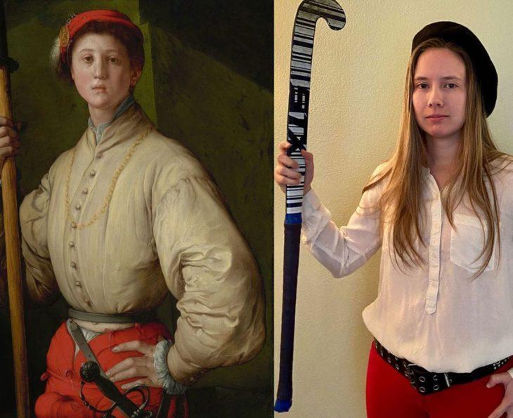 Chica realizando la imitación de pintura con una palo de hockey