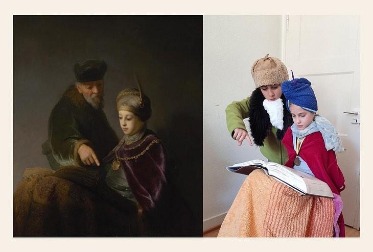 Niños rehaciendo una obra de arte en la que leen un libro