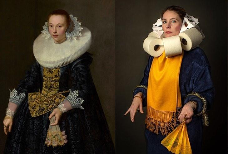mujer imitando una pintura, y su vestuario usando papel higiénico