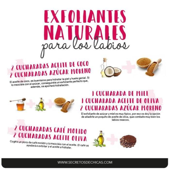Infografía sobre la exfoliación de labios