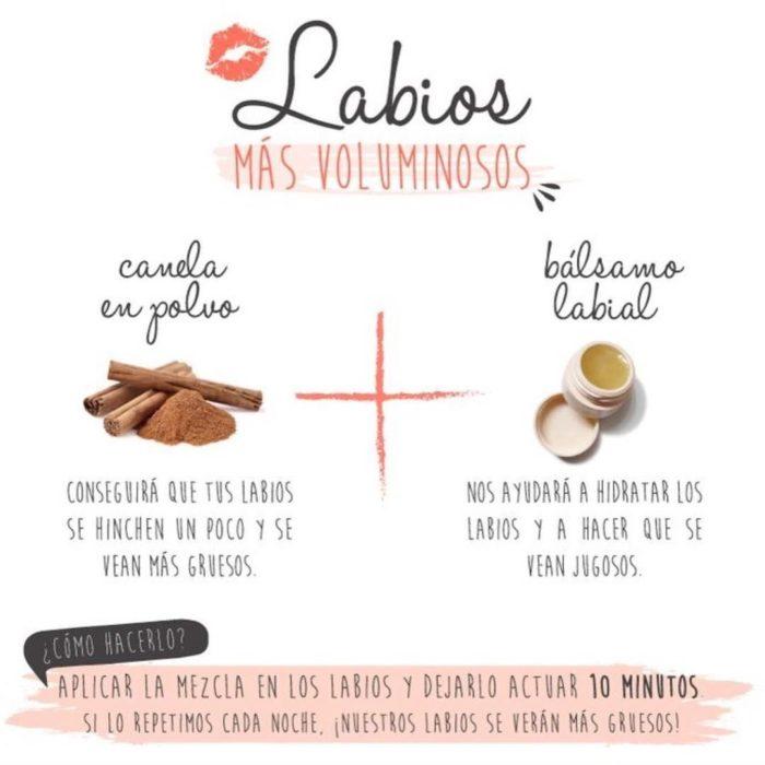 Infografía sobre como hacer más voluminosos los labios