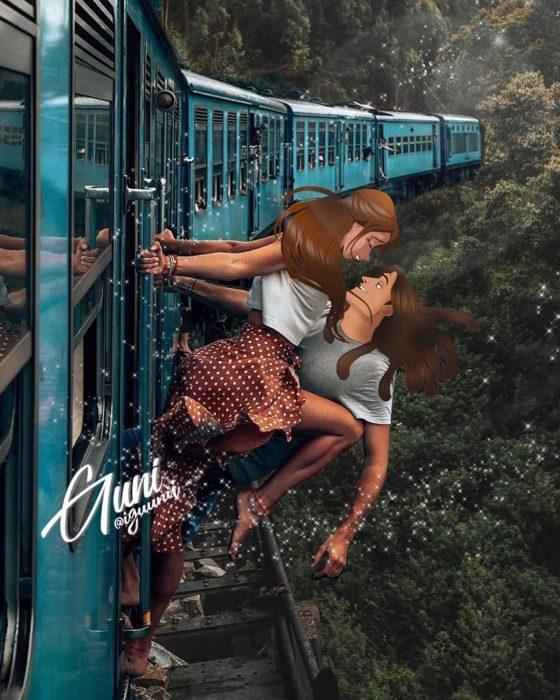 Jane y Tarzan viajando en tren