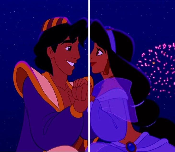 Fondo de pantalla en pareja de Jazmin y Aladín