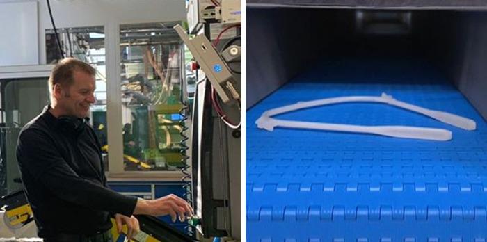Fabrica de Lego realizando caretas de protección