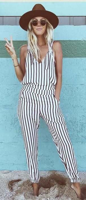 Girl wearing a striped jump suit