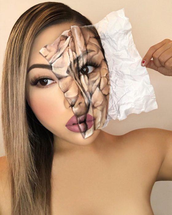 Maquillaje de ilusión óptica de una hoja de papel sobre el rostro