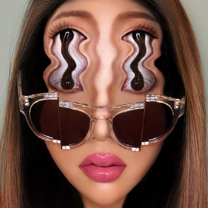 Maquillaje de ilusión óptica de ojos alargados