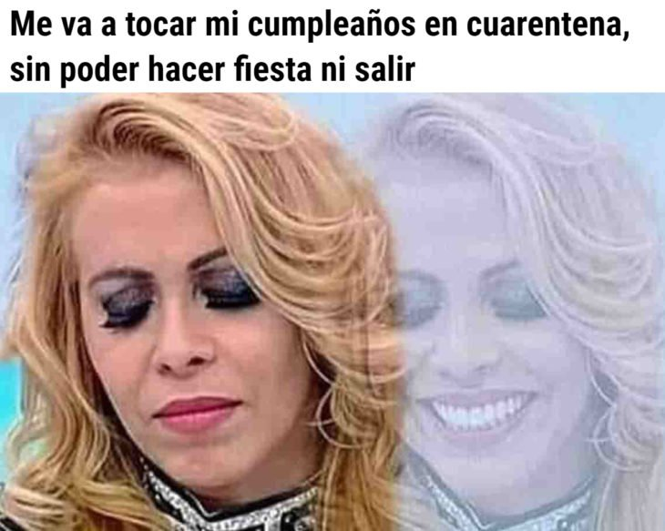 Memes de coronavirus para quienes cumplen años en cuarentena; mujer triste y feliz