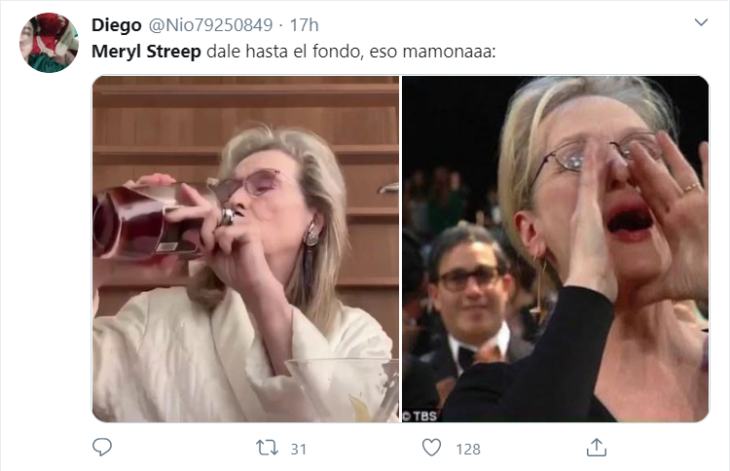 Meryl Streep tomando whisky