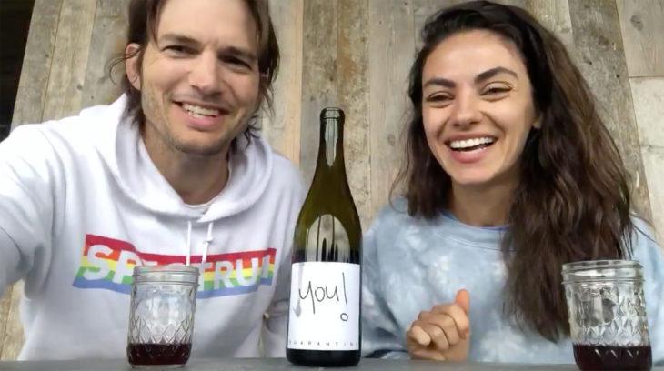 Mila y Ashton realizando la cata del quarantine wine