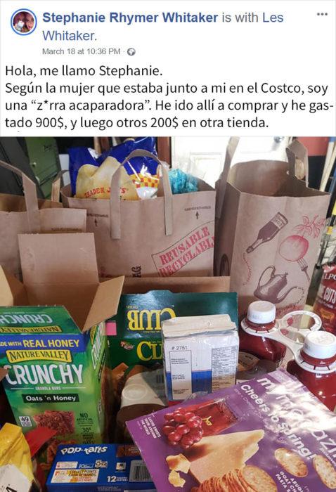 Comentario de mujer que fue al supermercado a realizar las compras de sus vecinos