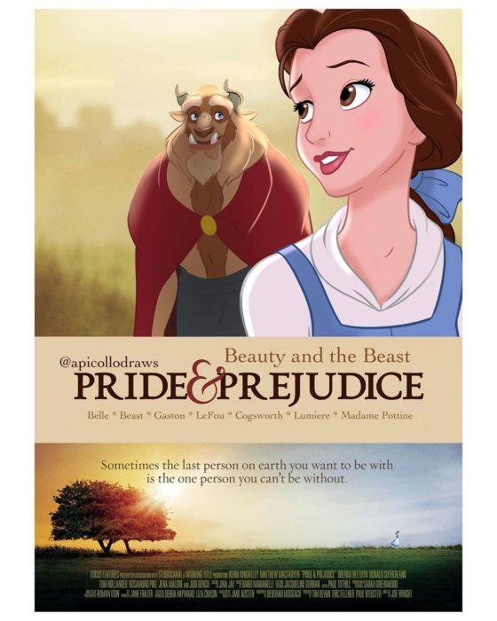 personajes de Disney en la portada de la película Orgullo y Prejuicio