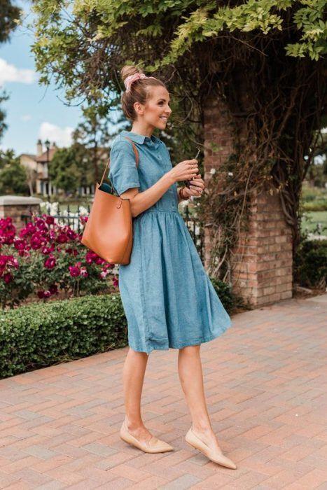Outfit de vestido con flats