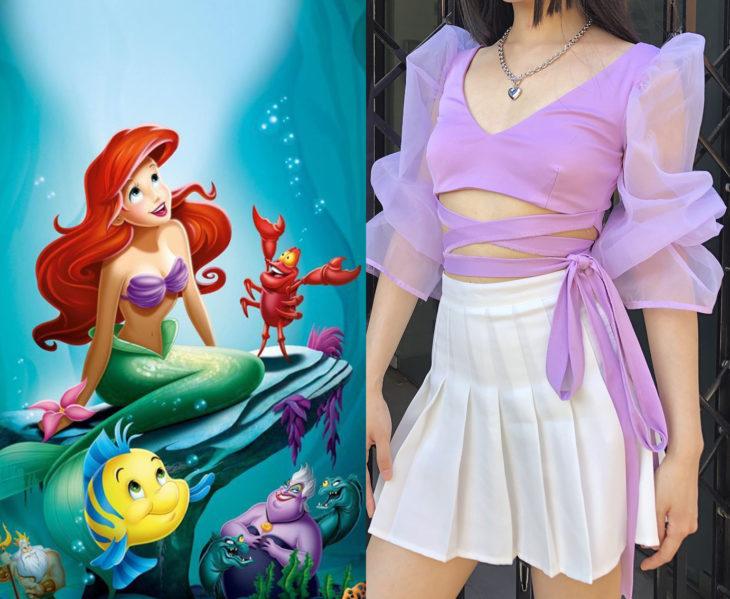 Chica con un outfit inspirado en La sirenita
