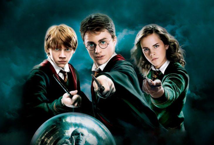 Escena de la película Harry Potter y la orden del Fenix, Rupert Grint, Emma Watson y Daniel Radcliffe