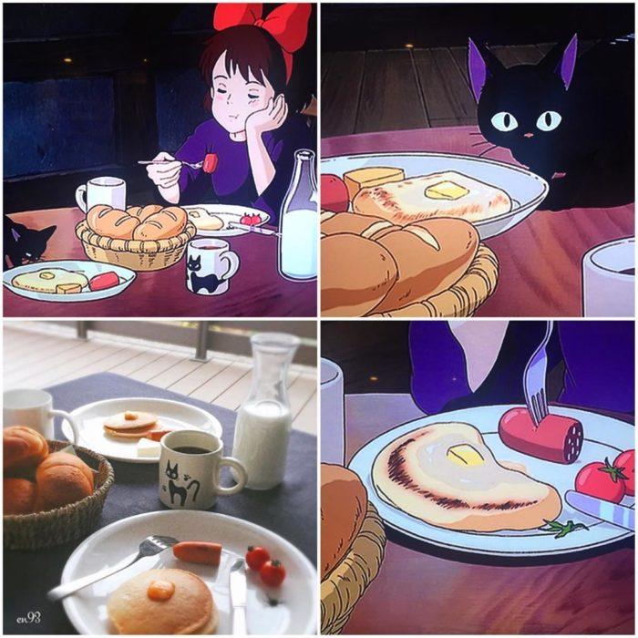 Recreación de comida de películas de Studio Ghibli, pancakes