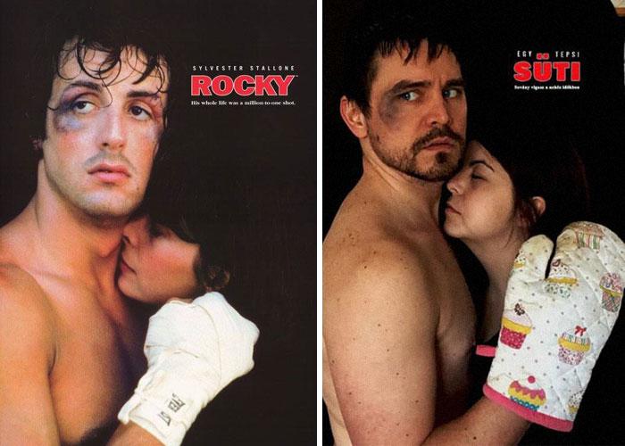 Fanni y Norbert recreando una escena de la película Rocky
