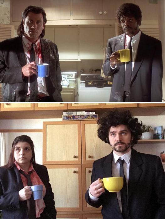 Fanni y Norbert recreando una escena de la película Pulp Fiction