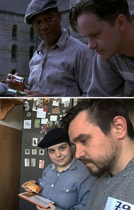 Fanni y Norbert recreando una escena de la película Sueño de fuga