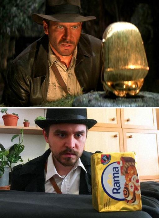 Fanni y Norbert recreando una escena de la película Indiana Jones