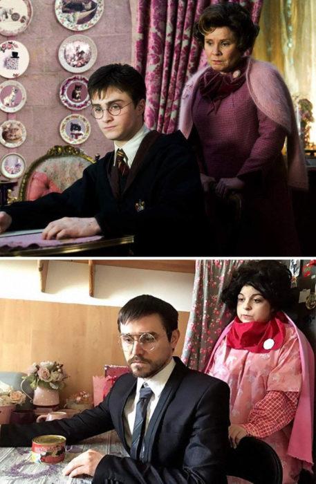 Fanni y Norbert recreando una escena de la película Harry Potter y la orden del fenix