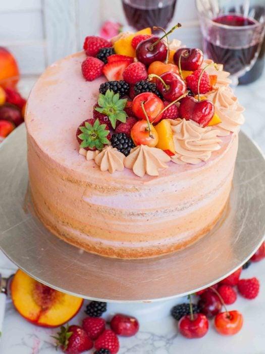 Pastel del día de las madres de frutas