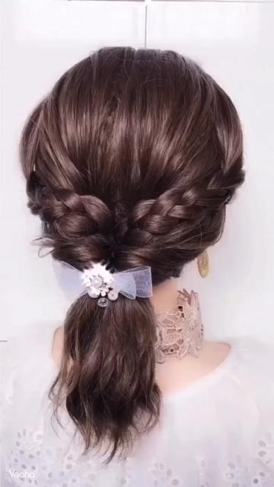 Peinado para cabello corto trenza con twist