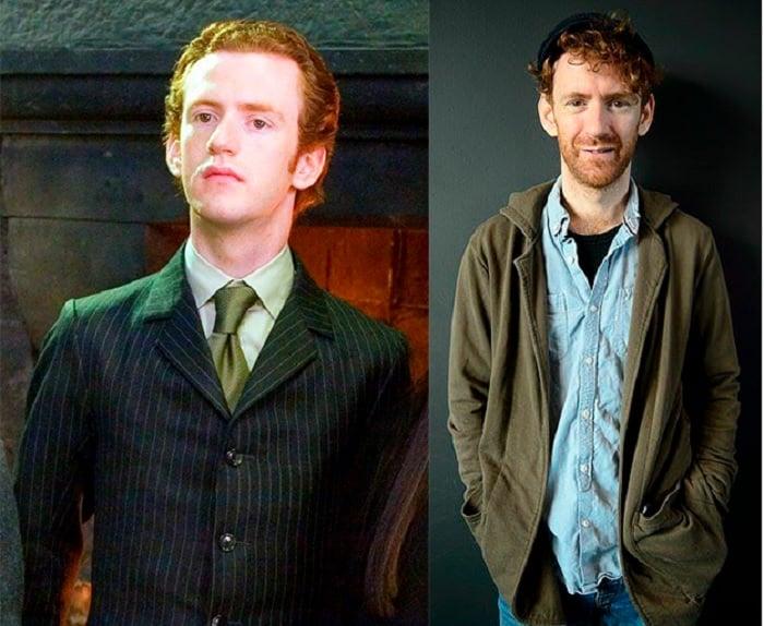 Foto comparativa del personaje Percy Weasley, con el actor que le dio vida Chris Rankin