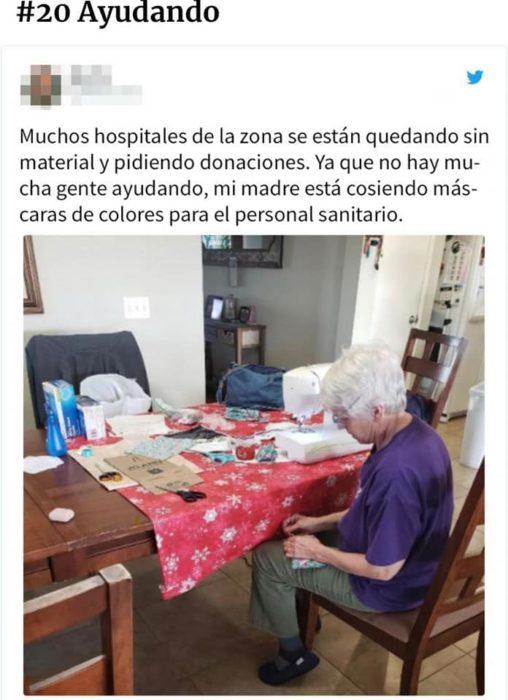 Historias en facebook de personas que han ayudado durante la cuarentena