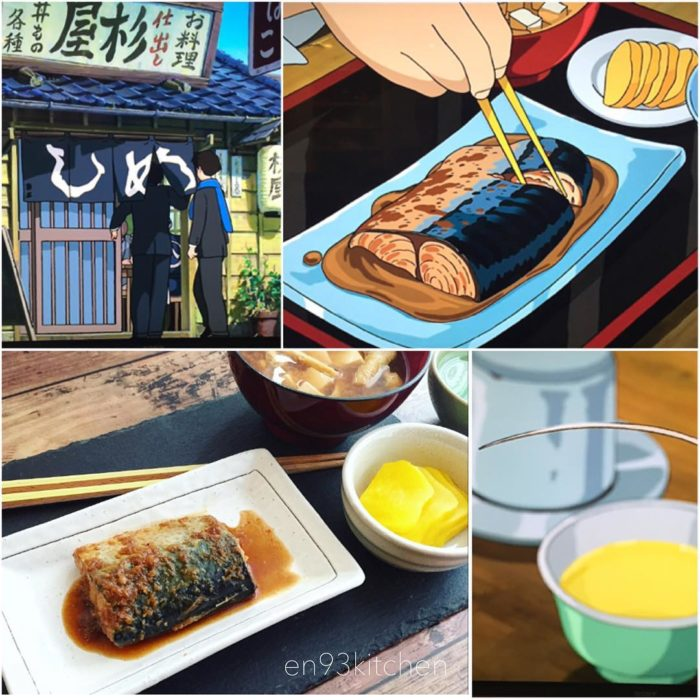 Recreación de comida de películas de Studio Ghibli, pescado en su jugo