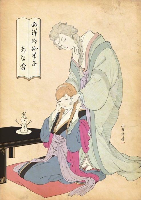Elsa y Ana pintada con la técnica de Ukiyo-e