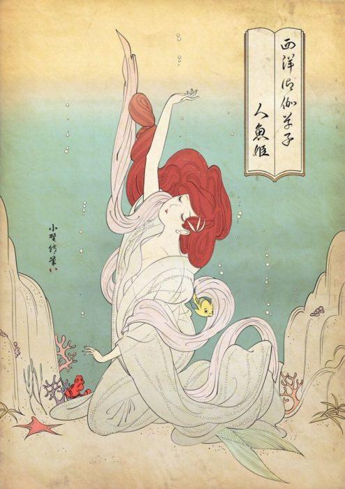 Ariel de La Sirenita pintada con la técnica de Ukiyo-e
