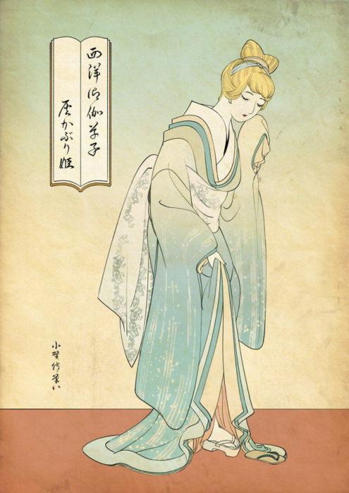 Cenicienta pintada con la técnica de Ukiyo-e