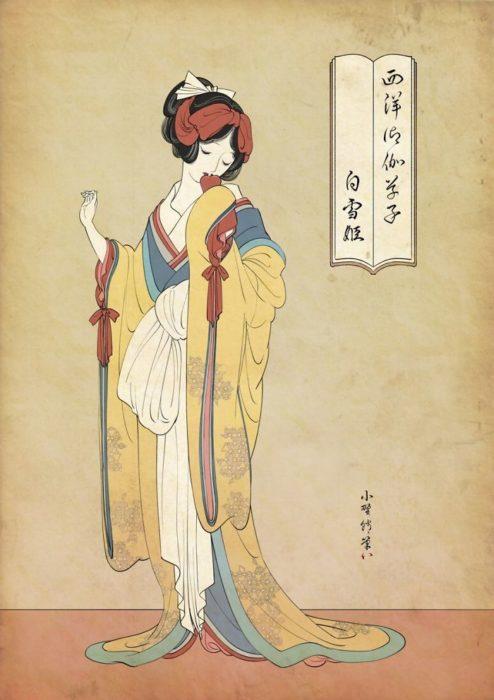 Blancanieves pintada con la técnica de Ukiyo-e
