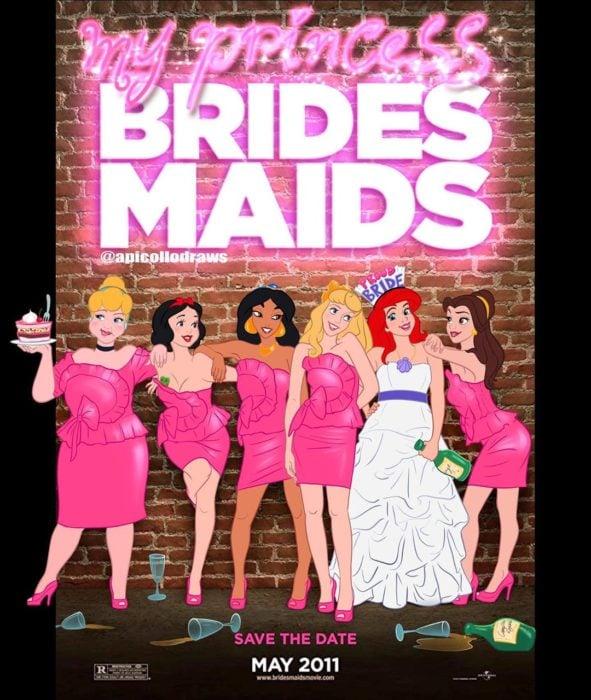 personajes de Disney en la portada de la película brides maids