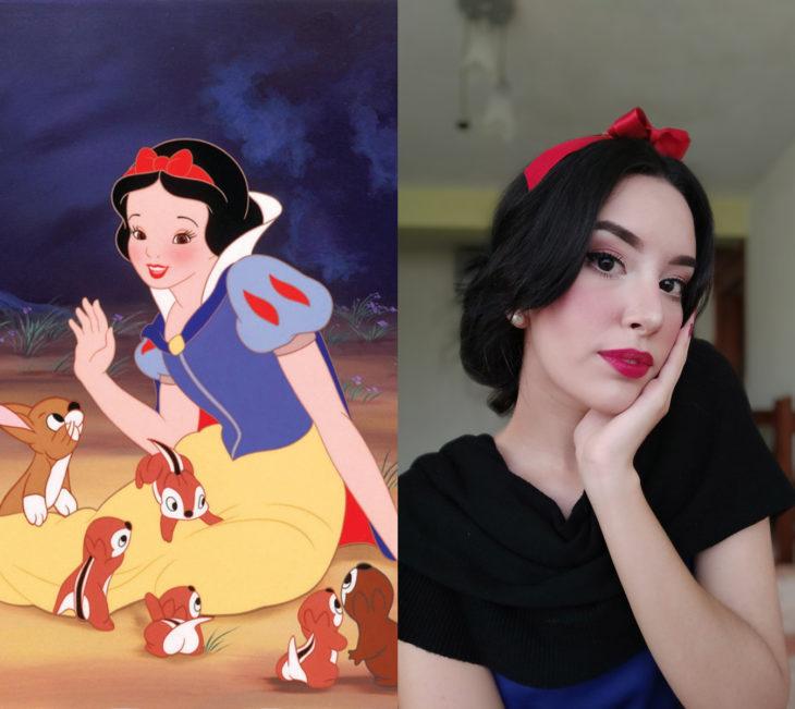 Disney princess challenge; chica disfrazada de princesa Blancanieves