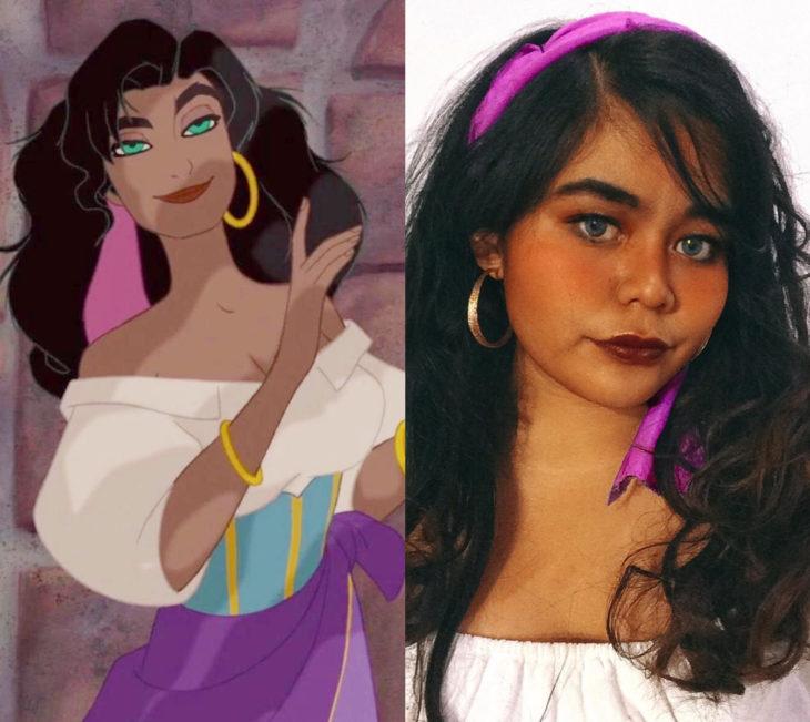 Disney princess challenge; chica disfrazada de Esmeralda, El jorobado de Notre Dame