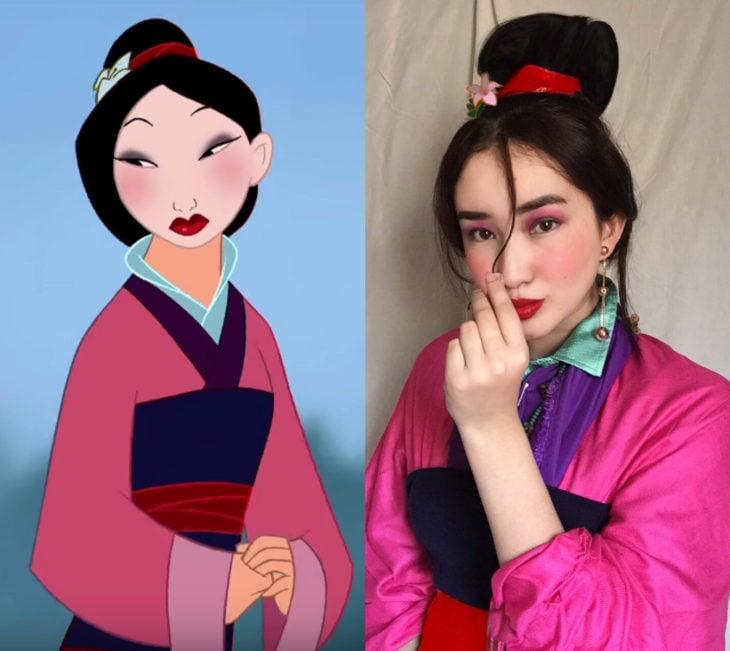 Disney princess challenge; chica disfrazada de Mulan geisha con maquillaje