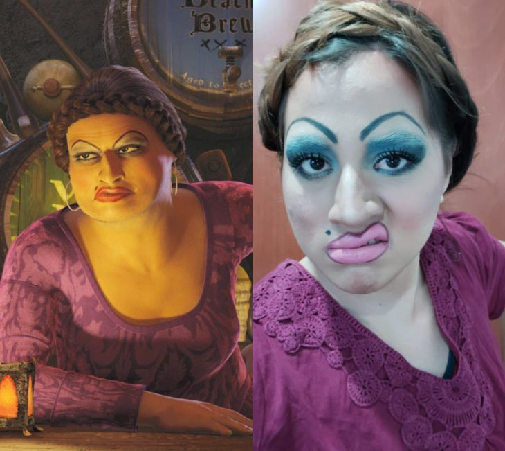Disney princess challenge; chica disfrazada de la hermanastra fea de Shrek