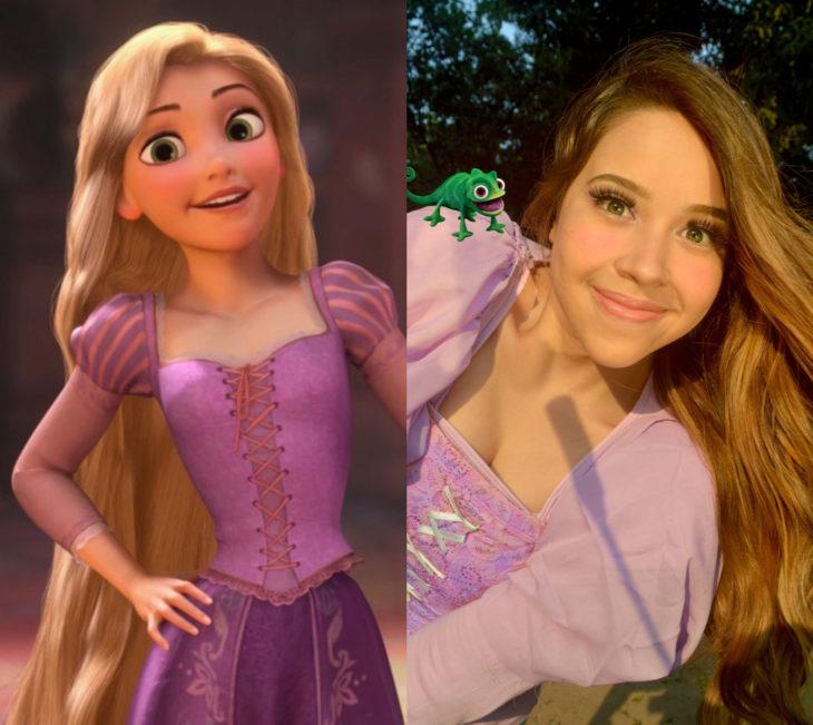 Disney princess challenge; chica disfrazada de Rapunzel, Enredados