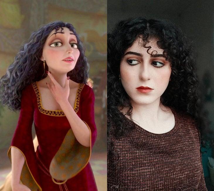 Disney princess challenge; chica disfrazada de madre Gothel, villana y madrastra de Enredados
