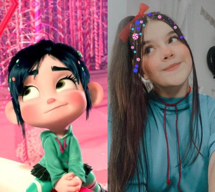 Disney princess challenge; chica disfrazada de Vanellope, Ralph el demoledor